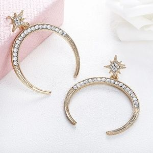 CELESTIAL STAR Crescent Moon Crystal Earrings